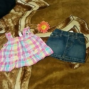 6-9 mos new Children's Place skirt set